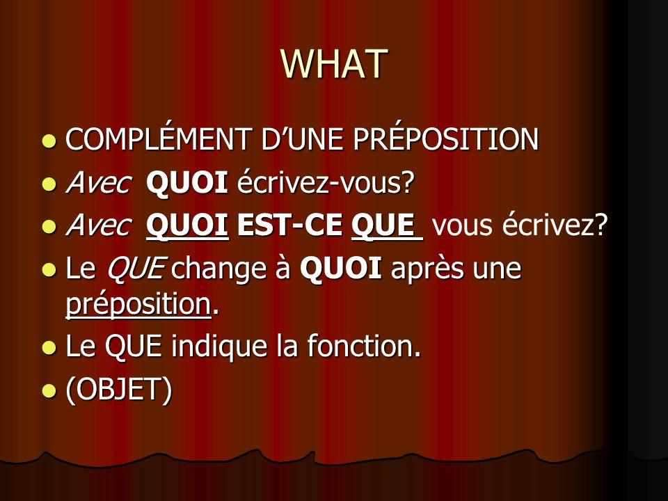 Complétez les phrases avec le pronom interrogatif convenable 1.