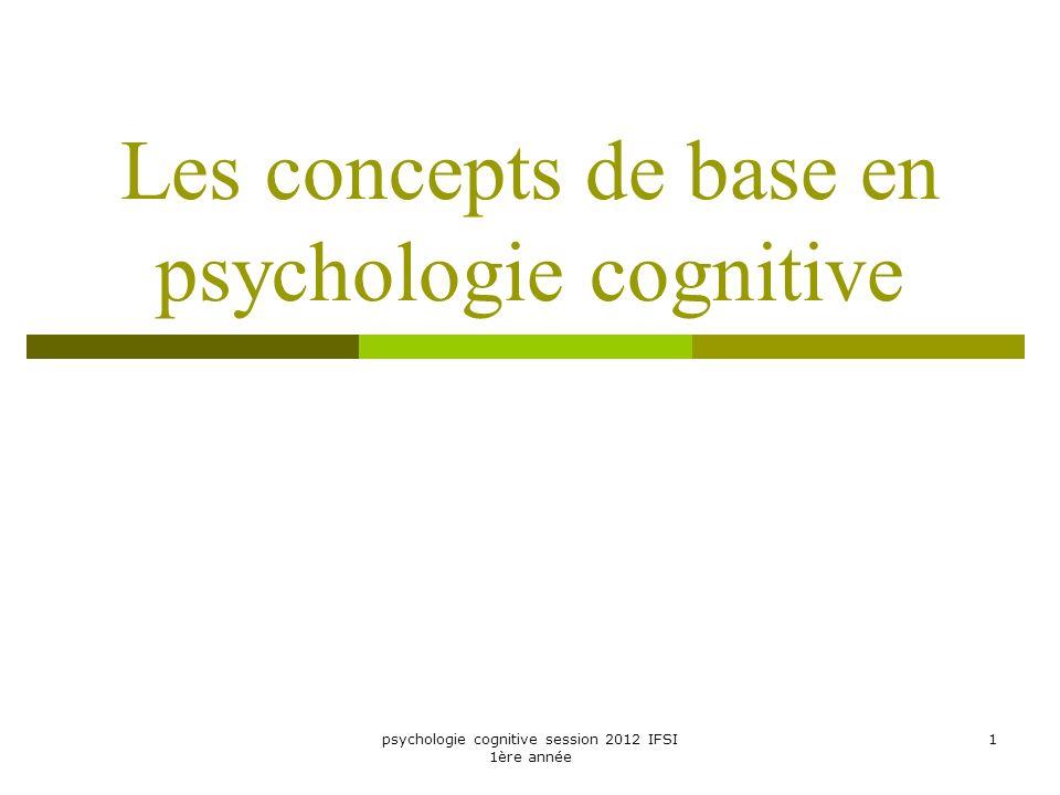 psychologie cognitive session 2012 IFSI 1ère année 1 Les concepts de base en psychologie cognitive