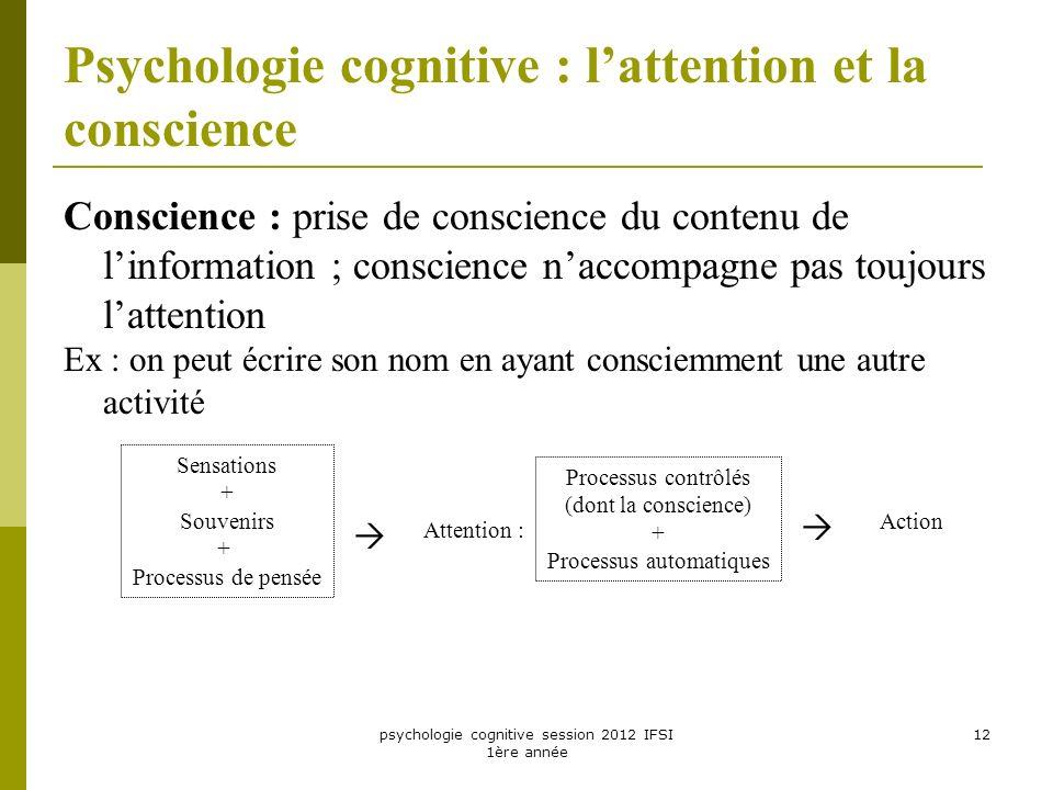 psychologie cognitive session 2012 IFSI 1ère année 12 Psychologie cognitive : lattention et la conscience Conscience : prise de conscience du contenu