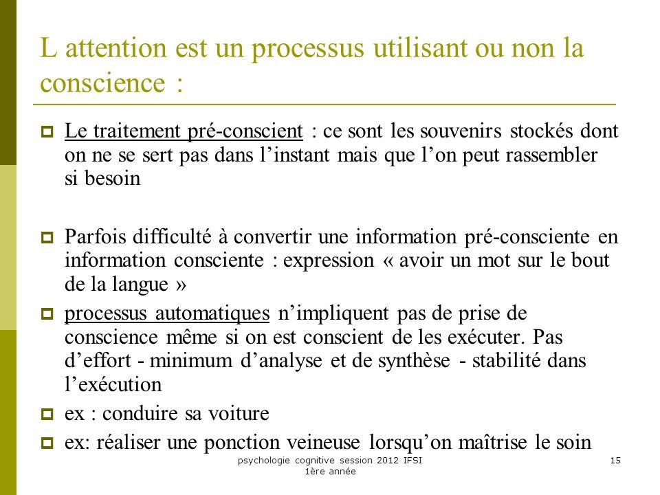 psychologie cognitive session 2012 IFSI 1ère année 15 L attention est un processus utilisant ou non la conscience : Le traitement pré-conscient : ce s