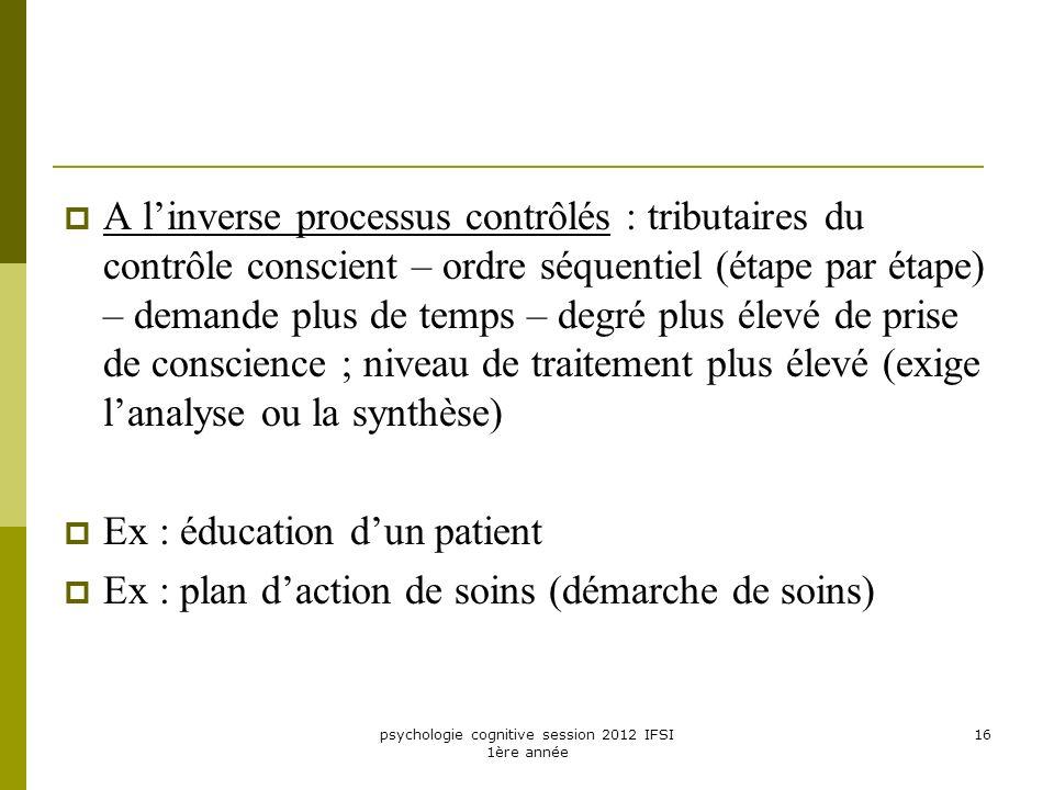 psychologie cognitive session 2012 IFSI 1ère année 16 A linverse processus contrôlés : tributaires du contrôle conscient – ordre séquentiel (étape par
