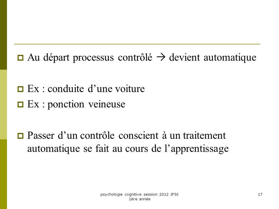 psychologie cognitive session 2012 IFSI 1ère année 17 Au départ processus contrôlé devient automatique Ex : conduite dune voiture Ex : ponction veineu