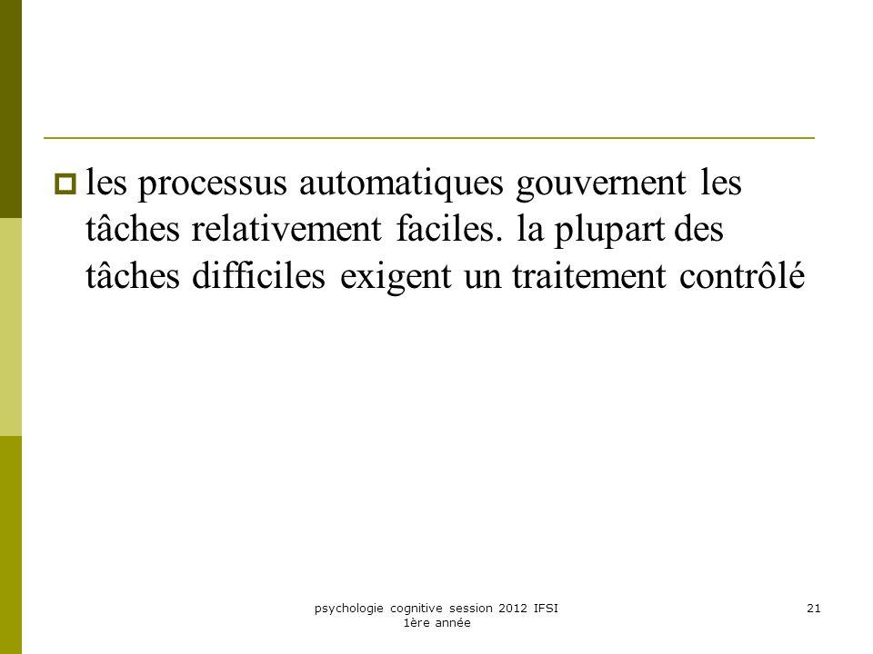 psychologie cognitive session 2012 IFSI 1ère année 21 les processus automatiques gouvernent les tâches relativement faciles. la plupart des tâches dif