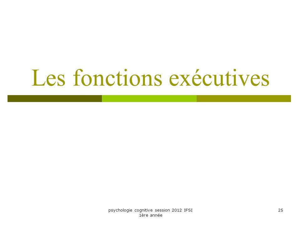 psychologie cognitive session 2012 IFSI 1ère année 25 Les fonctions exécutives