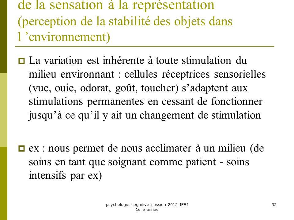 psychologie cognitive session 2012 IFSI 1ère année 32 de la sensation à la représentation (perception de la stabilité des objets dans l environnement)