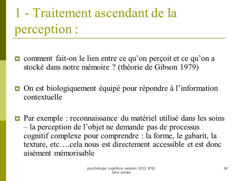 psychologie cognitive session 2012 IFSI 1ère année 36 1 - Traitement ascendant de la perception : comment fait-on le lien entre ce quon perçoit et ce