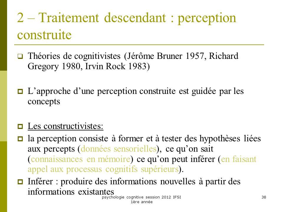 psychologie cognitive session 2012 IFSI 1ère année 38 2 – Traitement descendant : perception construite Théories de cognitivistes (Jérôme Bruner 1957,