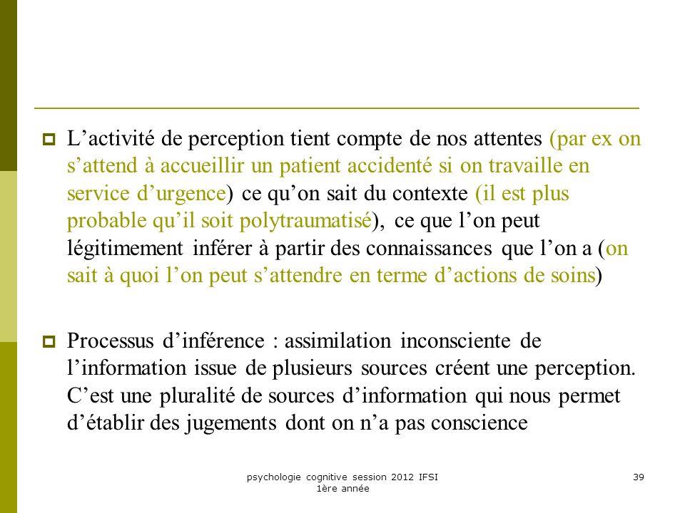 psychologie cognitive session 2012 IFSI 1ère année 39 Lactivité de perception tient compte de nos attentes (par ex on sattend à accueillir un patient