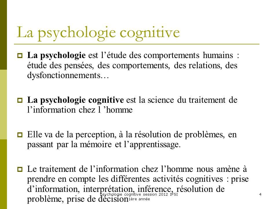 psychologie cognitive session 2012 IFSI 1ère année 4 La psychologie cognitive La psychologie est létude des comportements humains : étude des pensées,
