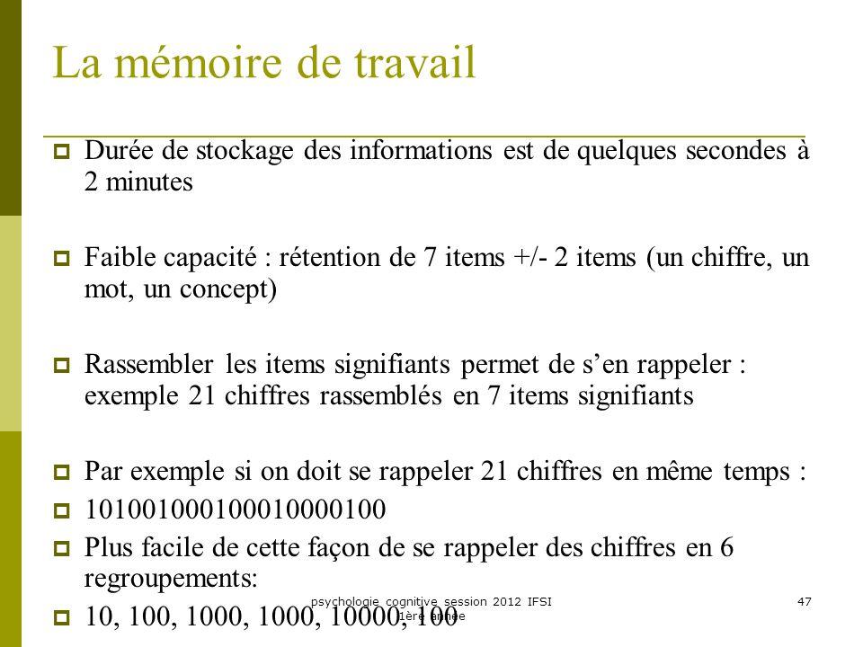 psychologie cognitive session 2012 IFSI 1ère année 47 La mémoire de travail Durée de stockage des informations est de quelques secondes à 2 minutes Fa