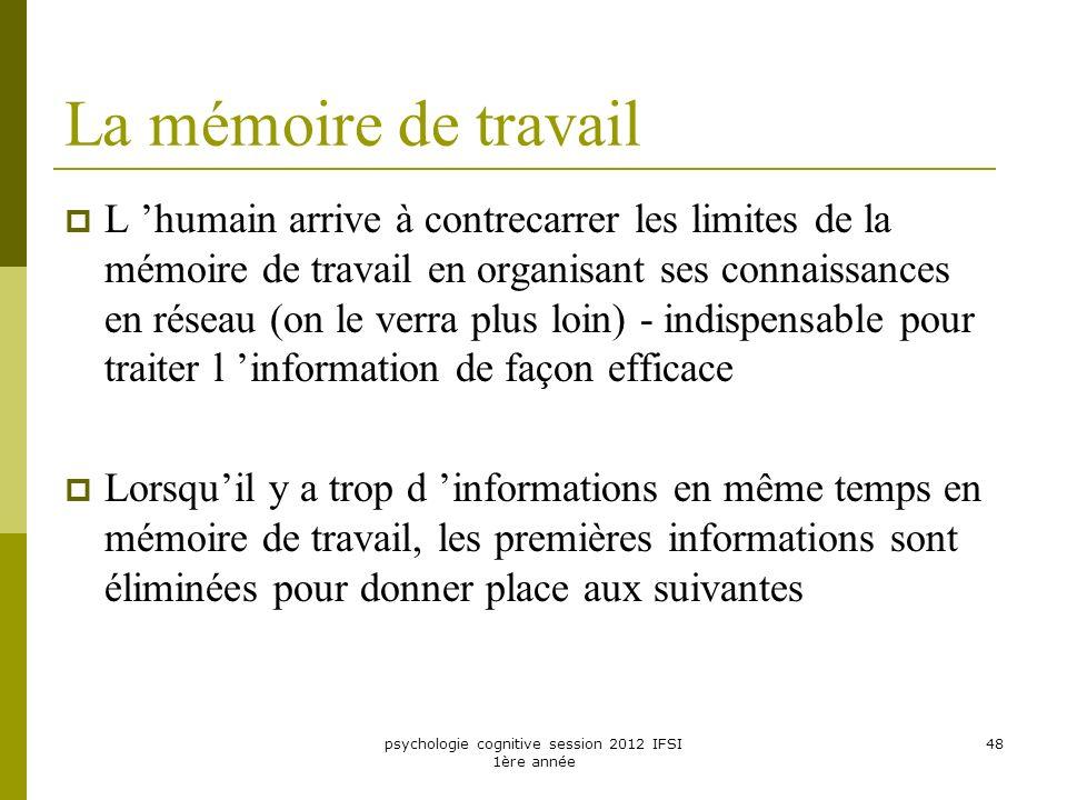 psychologie cognitive session 2012 IFSI 1ère année 48 La mémoire de travail L humain arrive à contrecarrer les limites de la mémoire de travail en org