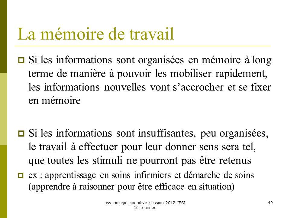 psychologie cognitive session 2012 IFSI 1ère année 49 La mémoire de travail Si les informations sont organisées en mémoire à long terme de manière à p