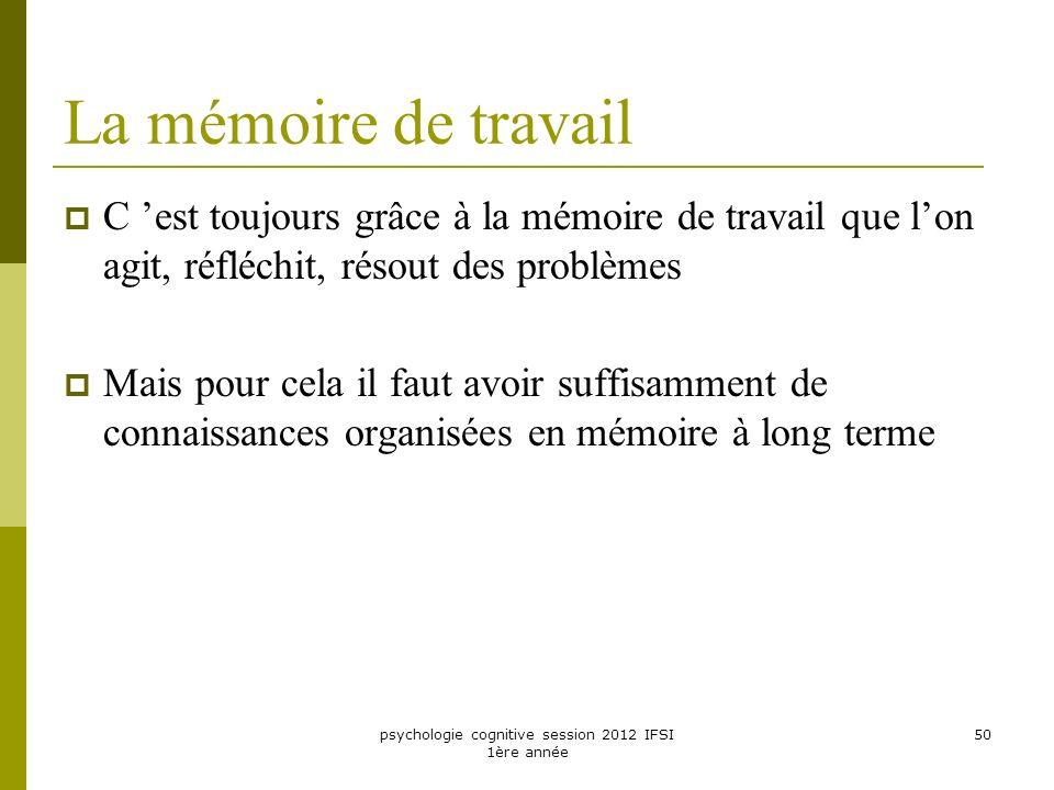 psychologie cognitive session 2012 IFSI 1ère année 50 La mémoire de travail C est toujours grâce à la mémoire de travail que lon agit, réfléchit, réso