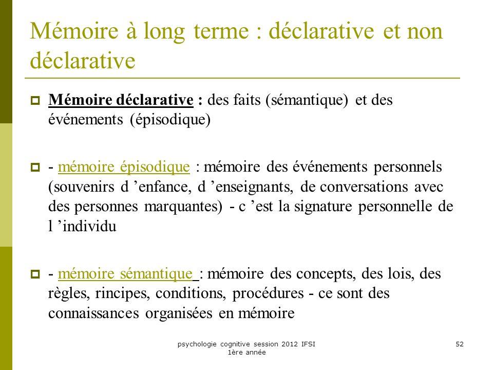 psychologie cognitive session 2012 IFSI 1ère année 52 Mémoire à long terme : déclarative et non déclarative Mémoire déclarative : des faits (sémantiqu