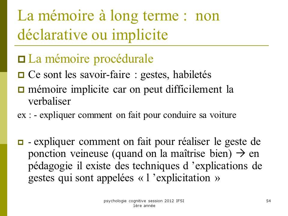 psychologie cognitive session 2012 IFSI 1ère année 54 La mémoire à long terme : non déclarative ou implicite La mémoire procédurale Ce sont les savoir