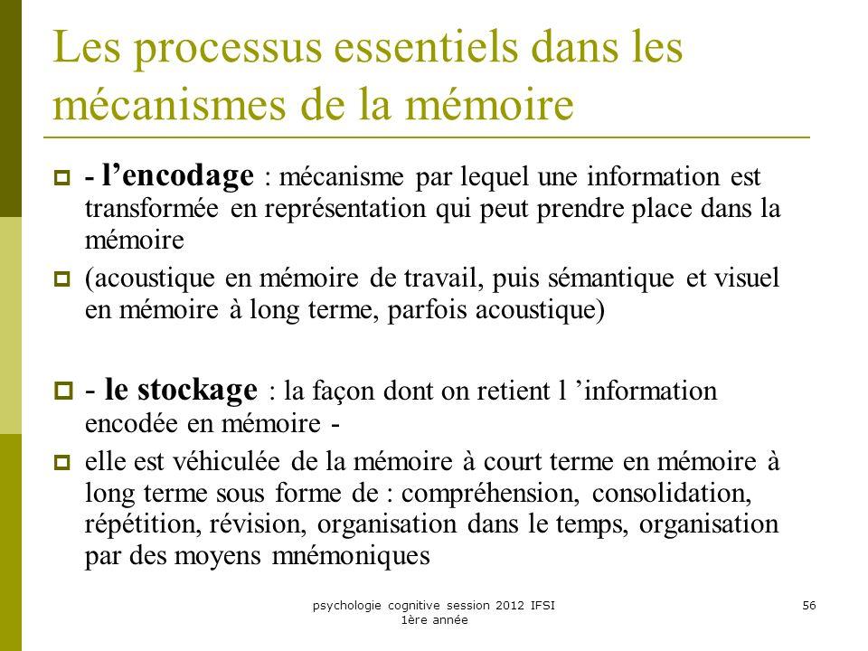 psychologie cognitive session 2012 IFSI 1ère année 56 Les processus essentiels dans les mécanismes de la mémoire - lencodage : mécanisme par lequel un