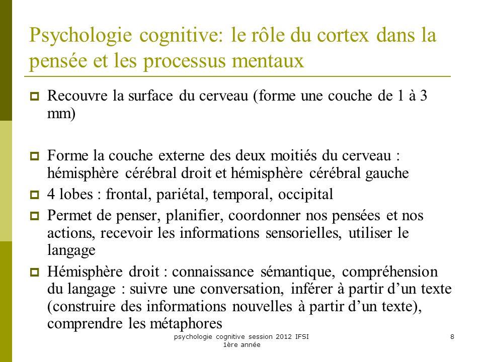 psychologie cognitive session 2012 IFSI 1ère année 8 Psychologie cognitive: le rôle du cortex dans la pensée et les processus mentaux Recouvre la surf