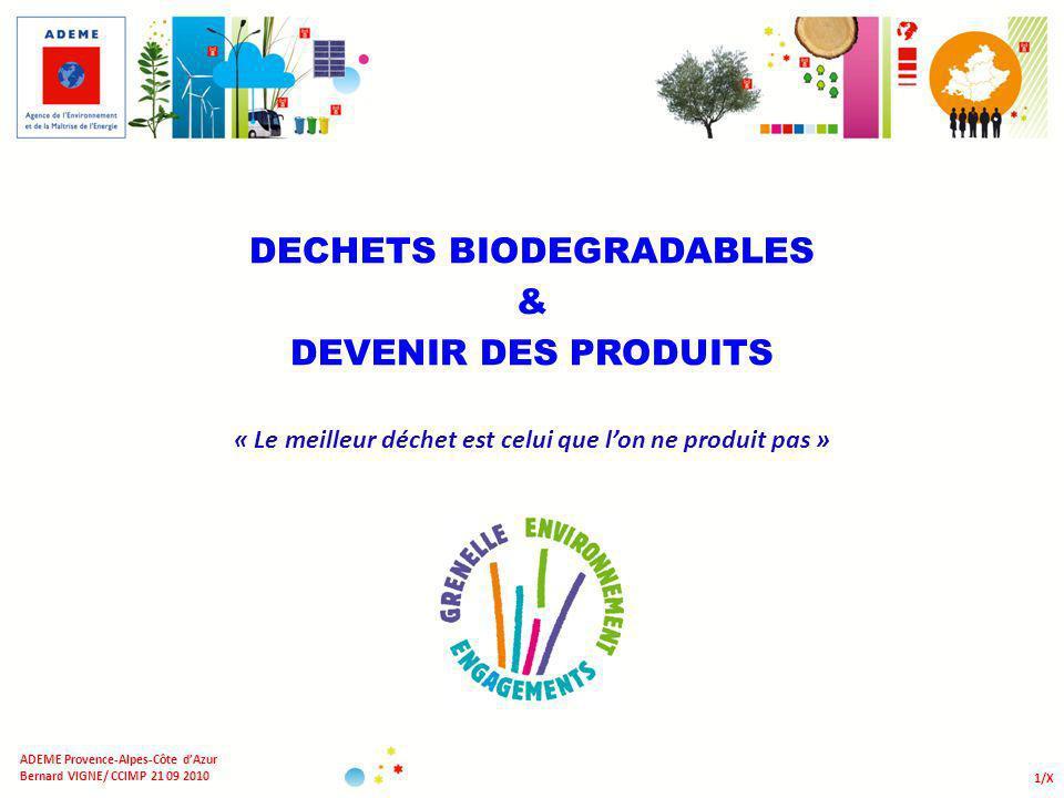 DECHETS BIODEGRADABLES & DEVENIR DES PRODUITS « Le meilleur déchet est celui que lon ne produit pas » 1/X ADEME Provence-Alpes-Côte dAzur Bernard VIGN