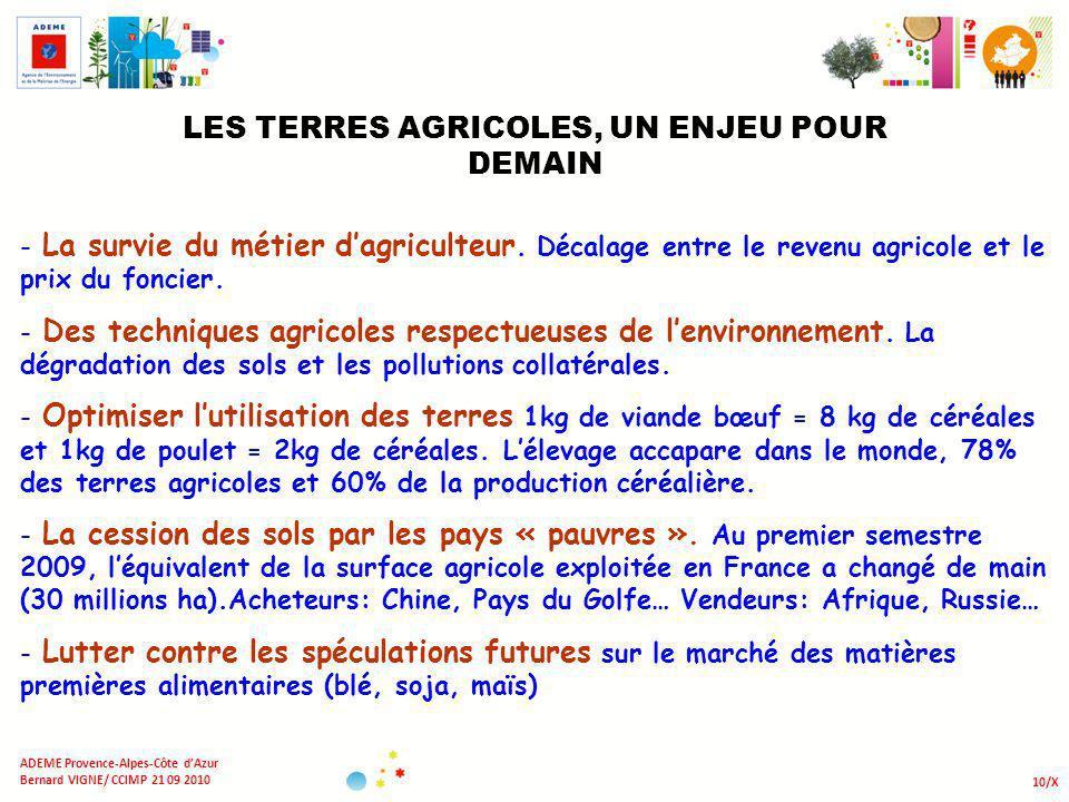 10/X ADEME Provence-Alpes-Côte dAzur Bernard VIGNE/ CCIMP 21 09 2010 LES TERRES AGRICOLES, UN ENJEU POUR DEMAIN - La survie du métier dagriculteur. Dé