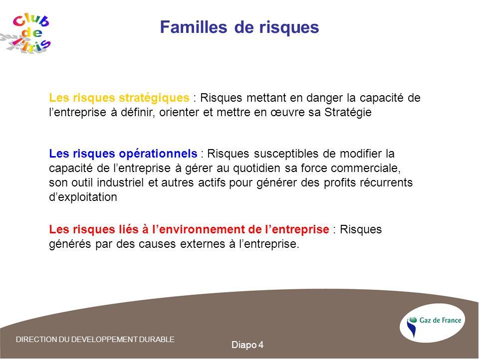 Diapo 4 DIRECTION DU DEVELOPPEMENT DURABLE Familles de risques Les risques stratégiques : Risques mettant en danger la capacité de lentreprise à défin