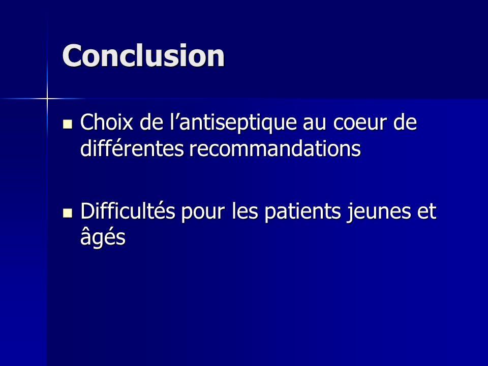 Conclusion Choix de lantiseptique au coeur de différentes recommandations Choix de lantiseptique au coeur de différentes recommandations Difficultés p