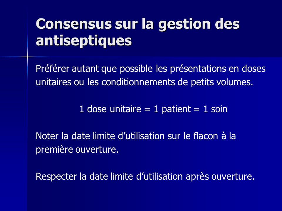 Consensus sur la gestion des antiseptiques Préférer autant que possible les présentations en doses unitaires ou les conditionnements de petits volumes