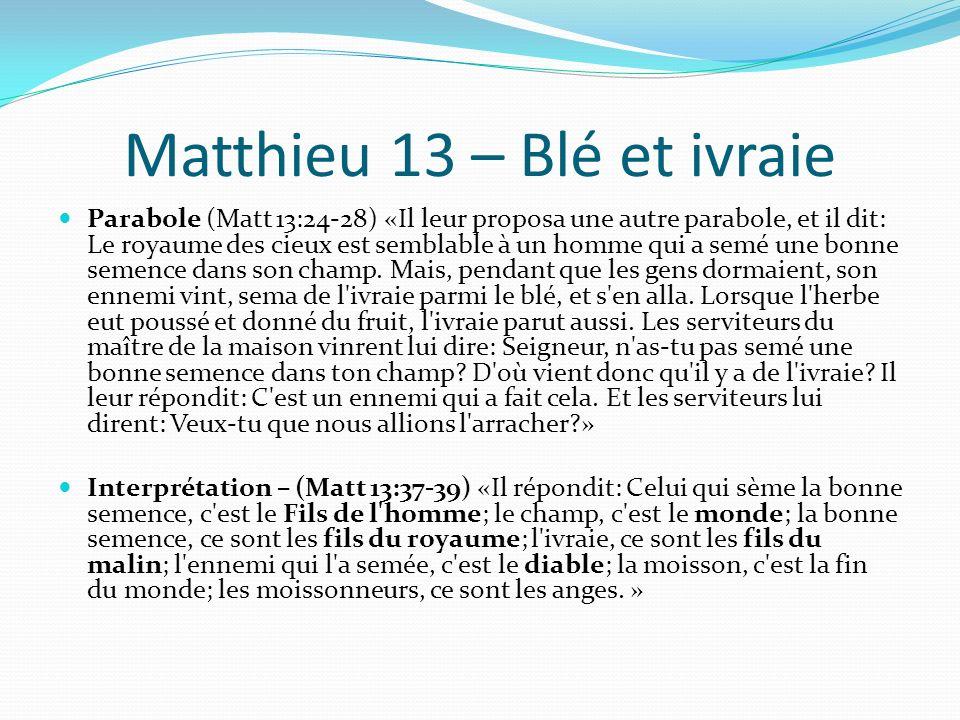 Matthieu 13 – Blé et ivraie Parabole (Matt 13:24-28) «Il leur proposa une autre parabole, et il dit: Le royaume des cieux est semblable à un homme qui