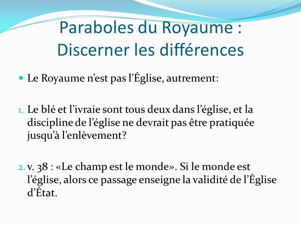 Paraboles du Royaume : Discerner les différences Le Royaume nest pas lÉglise, autrement: 1. Le blé et livraie sont tous deux dans léglise, et la disci