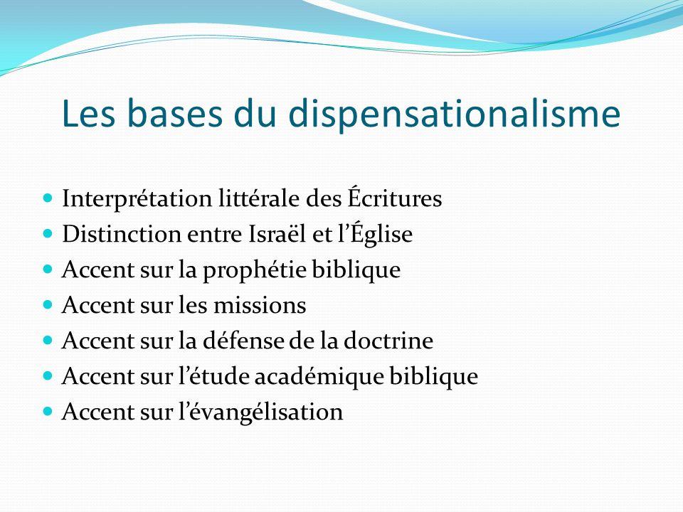 Les bases du dispensationalisme Interprétation littérale des Écritures Distinction entre Israël et lÉglise Accent sur la prophétie biblique Accent sur