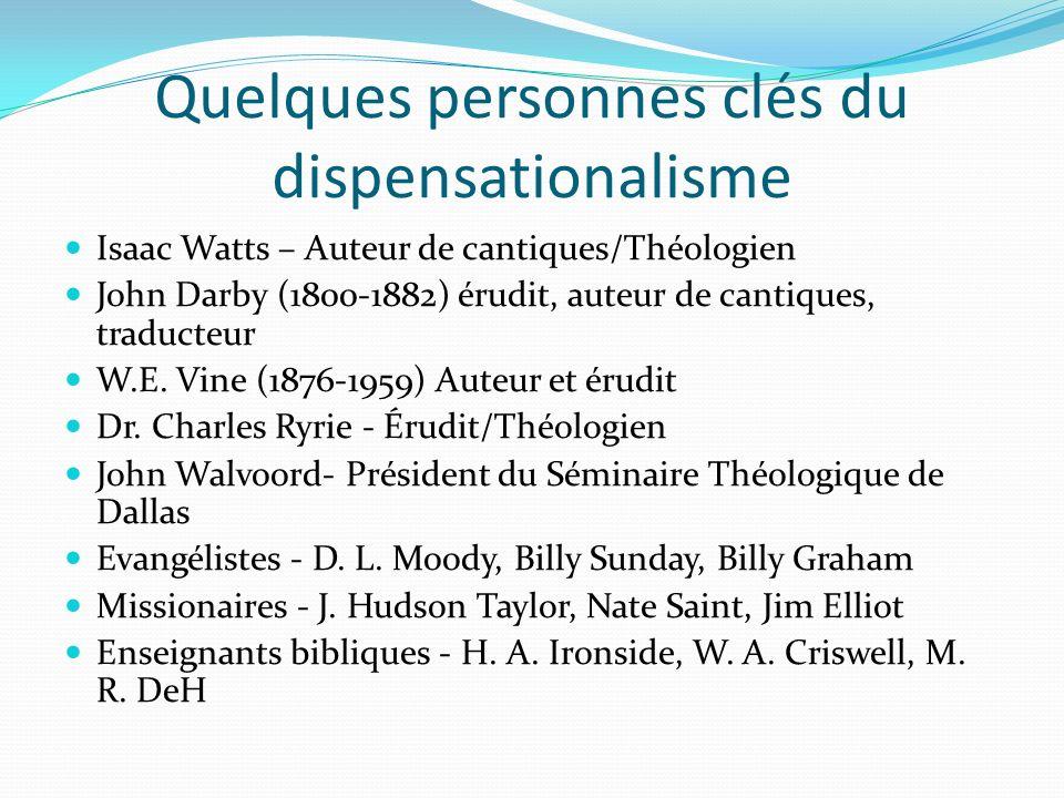 Quelques personnes clés du dispensationalisme Isaac Watts – Auteur de cantiques/Théologien John Darby (1800-1882) érudit, auteur de cantiques, traduct