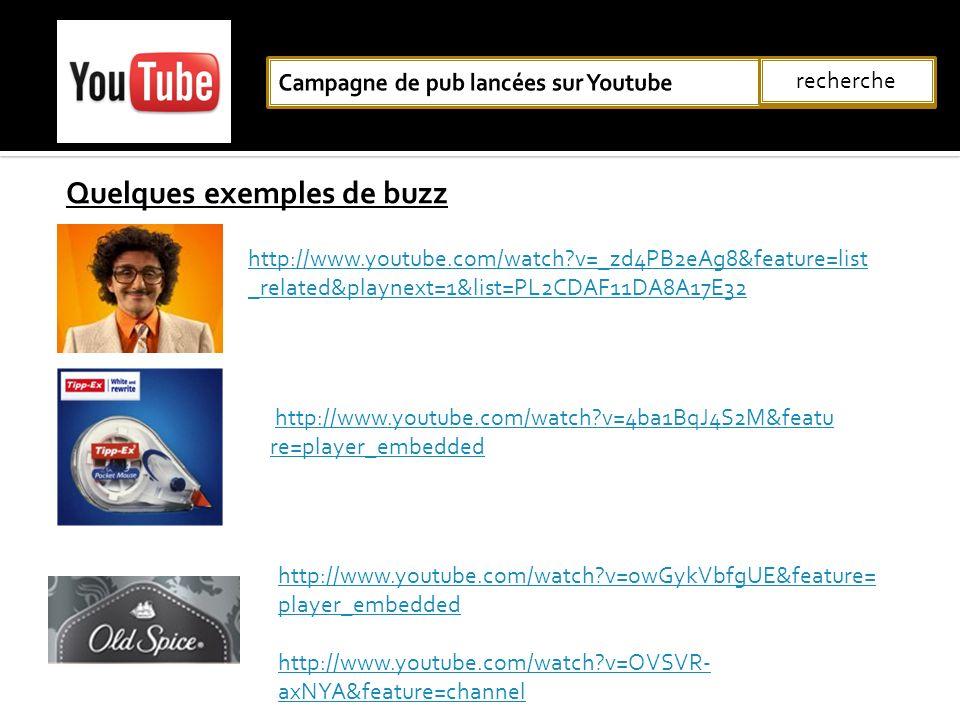 Quelques exemples de buzz recherche http://www.youtube.com/watch?v=_zd4PB2eAg8&feature=list _related&playnext=1&list=PL2CDAF11DA8A17E32 http://www.you