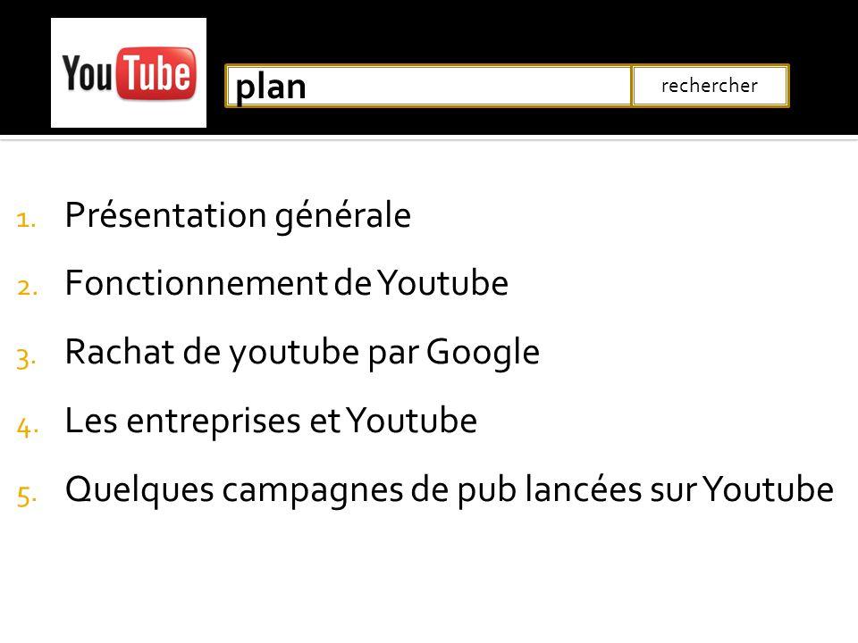 1. Présentation générale 2. Fonctionnement de Youtube 3. Rachat de youtube par Google 4. Les entreprises et Youtube 5. Quelques campagnes de pub lancé
