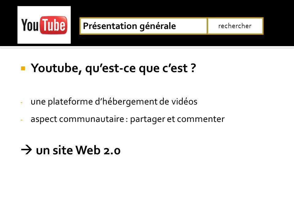 Youtube, quest-ce que cest ? - une plateforme dhébergement de vidéos - aspect communautaire : partager et commenter un site Web 2.0 Présentation génér