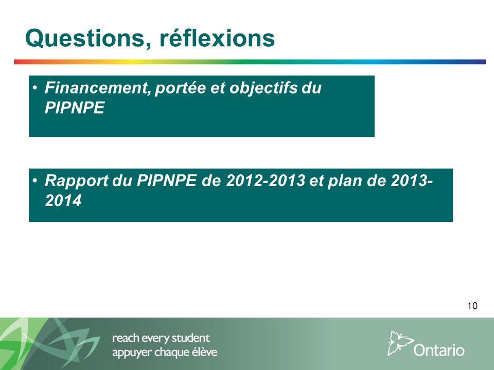 10 Questions, réflexions Financement, portée et objectifs du PIPNPE Rapport du PIPNPE de 2012-2013 et plan de 2013- 2014