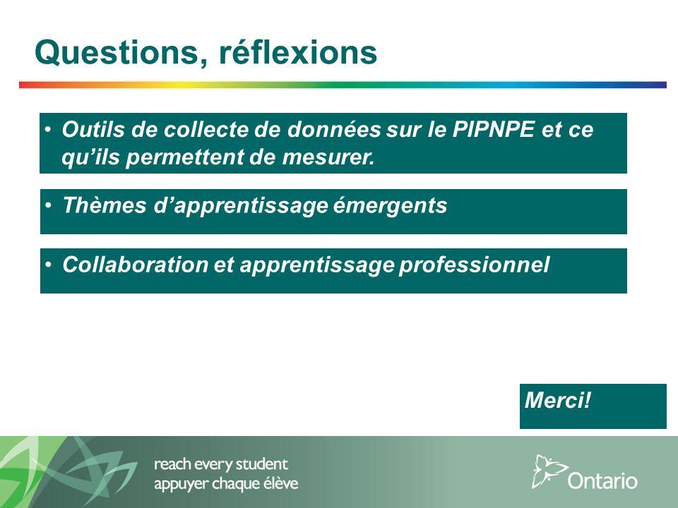16 Questions, réflexions Outils de collecte de données sur le PIPNPE et ce quils permettent de mesurer. Thèmes dapprentissage émergents Collaboration