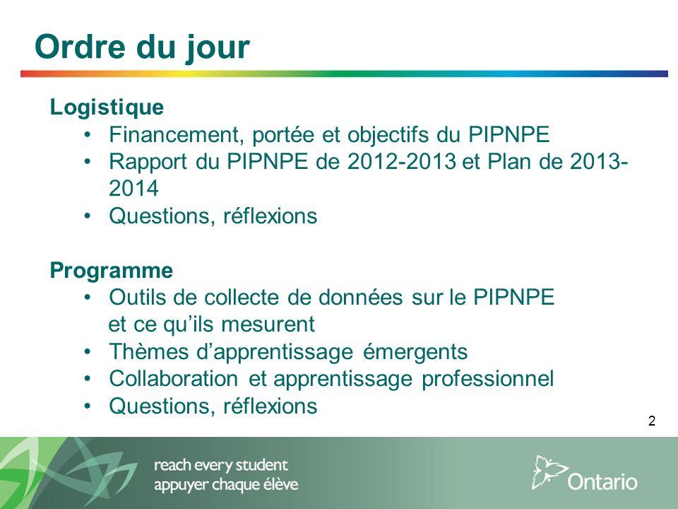 2 Ordre du jour Logistique Financement, portée et objectifs du PIPNPE Rapport du PIPNPE de 2012-2013 et Plan de 2013- 2014 Questions, réflexions Progr