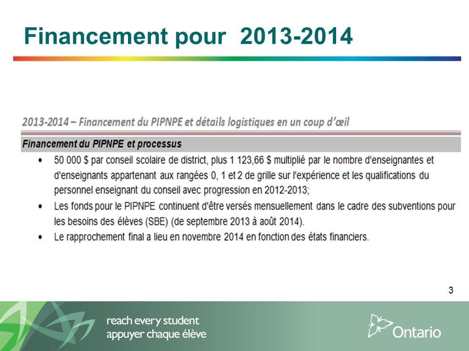 3 Financement pour 2013-2014