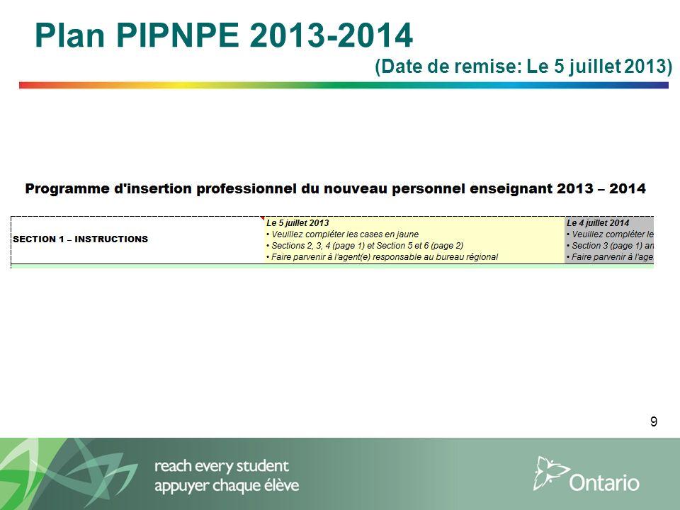 9 Plan PIPNPE 2013-2014 (Date de remise: Le 5 juillet 2013)