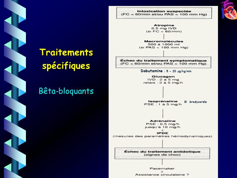 17 TraitementsspécifiquesBêta-bloquants Dobutamine : 5 - 20 µg/kg/min Si bradycardie