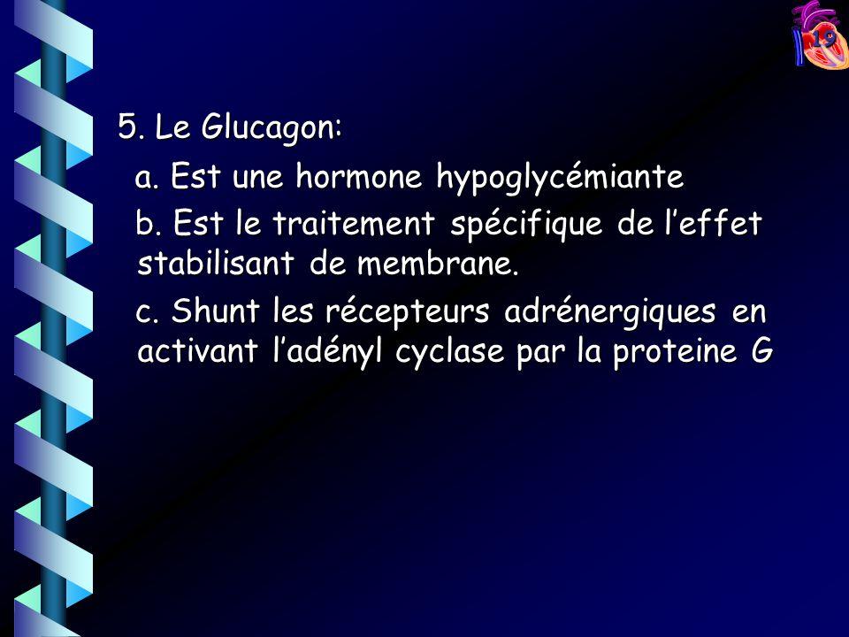 19 5. Le Glucagon: 5. Le Glucagon: a. Est une hormone hypoglycémiante a. Est une hormone hypoglycémiante b. Est le traitement spécifique de leffet sta
