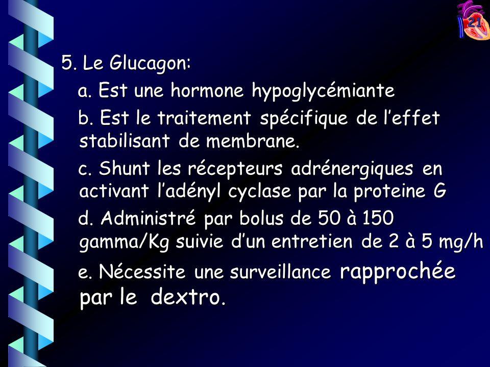 21 5. Le Glucagon: a. Est une hormone hypoglycémiante a. Est une hormone hypoglycémiante b. Est le traitement spécifique de leffet stabilisant de memb