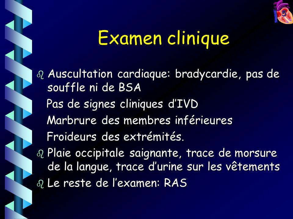 5 Examen clinique b Auscultation cardiaque: bradycardie, pas de souffle ni de BSA Pas de signes cliniques dIVD Pas de signes cliniques dIVD Marbrure des membres inférieures Marbrure des membres inférieures Froideurs des extrémités.