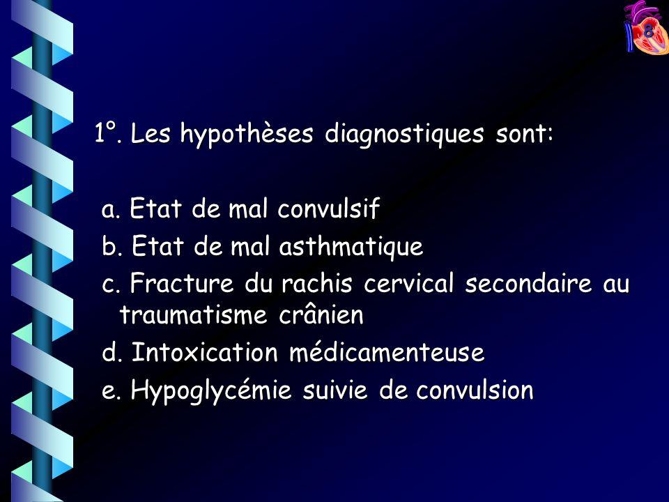 8 1°. Les hypothèses diagnostiques sont: a. Etat de mal convulsif a. Etat de mal convulsif b. Etat de mal asthmatique b. Etat de mal asthmatique c. Fr