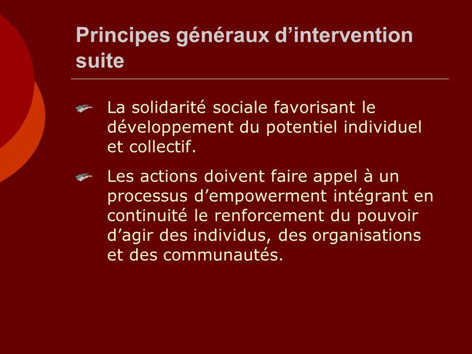 Principes généraux dintervention suite La solidarité sociale favorisant le développement du potentiel individuel et collectif. Les actions doivent fai