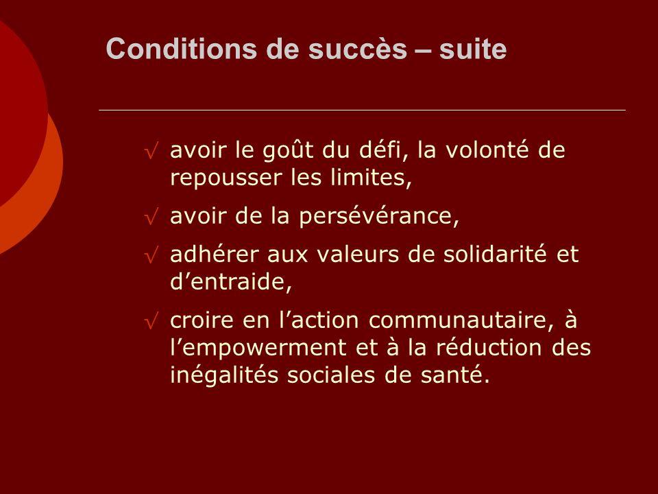 Conditions de succès – suite avoir le goût du défi, la volonté de repousser les limites, avoir de la persévérance, adhérer aux valeurs de solidarité e