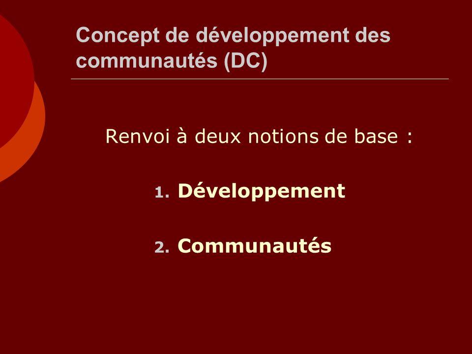 Concept de développement des communautés (DC) Renvoi à deux notions de base : 1. Développement 2. Communautés