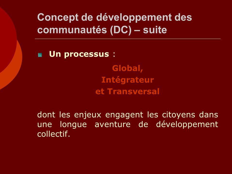 Concept de développement des communautés (DC) – suite Un processus : Global, Intégrateur et Transversal dont les enjeux engagent les citoyens dans une
