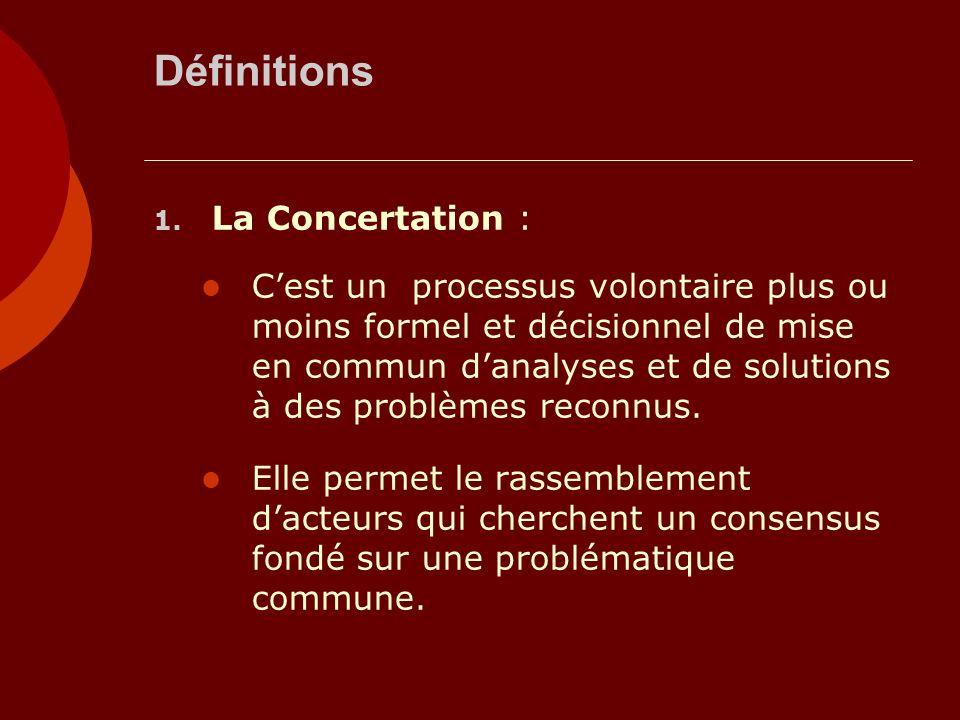 Définitions 1. La Concertation : Cest un processus volontaire plus ou moins formel et décisionnel de mise en commun danalyses et de solutions à des pr