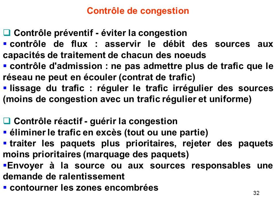 Contrôle de congestion Contrôle préventif - éviter la congestion contrôle de flux : asservir le débit des sources aux capacités de traitement de chacun des noeuds contrôle d admission : ne pas admettre plus de trafic que le réseau ne peut en écouler (contrat de trafic) lissage du trafic : réguler le trafic irrégulier des sources (moins de congestion avec un trafic régulier et uniforme) Contrôle réactif - guérir la congestion éliminer le trafic en excès (tout ou une partie) traiter les paquets plus prioritaires, rejeter des paquets moins prioritaires (marquage des paquets) Envoyer à la source ou aux sources responsables une demande de ralentissement contourner les zones encombrées 32