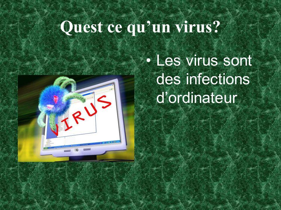 La reproduction des virus Sils reproduisent trop vite, ils peuvent gâter tout lordinateur.